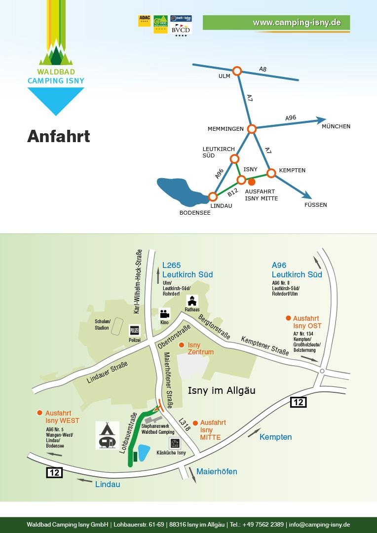 Anfahrt - Waldbad Camping Isny / Allgäu