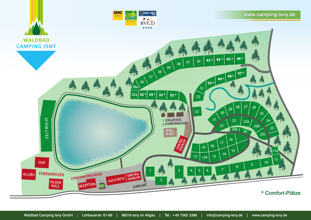 Campingplatz-Plan - Waldbad Camping Isny / Allgäu
